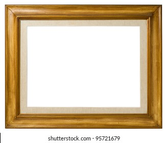 Antique double frame: wood and canvas, italian style,  isolated on white background - include clipping path.