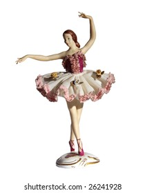 Antique Dresden Lace Porcelain Ballerina Figurine, isolated on white
