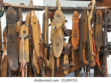 antique Dutch ice skates at a market in Delft, Holland