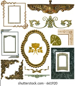 Antique elements #4. Fifteen designs -- All with work paths. Some grunge intact.