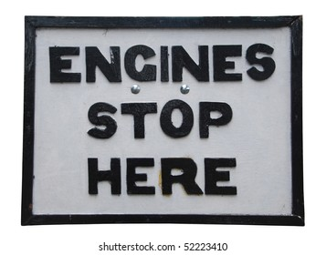 antique engines stop here sign isolated on white background