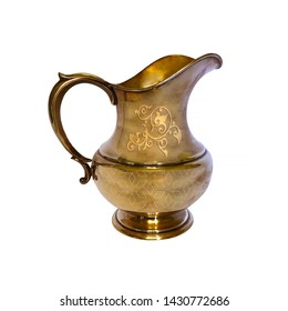 Antique English golden jug isolated over white, metal kettle