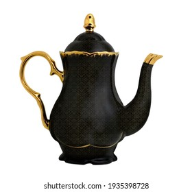 Antique English golden Teapot isolated over white, metal kettle, Black and gold kettle (Teapot)