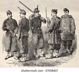 "Antique engraved illustration showing a project for new uniforms of French army in 19th c. Original, from drawing of Janet-Lange, was published on ""L'Illustration, Journal Universel"", Paris, 1860"