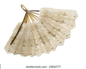 Antique fan isolated with clipping path