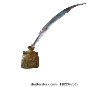 Antique feather pen and ancient copper inkwell isolated over white background