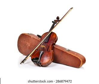 antique fiddle-case and violin on a white background