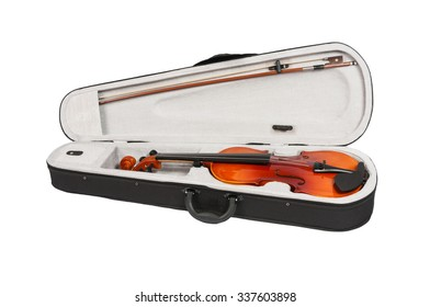 antique fiddle-case and violin on a white background.