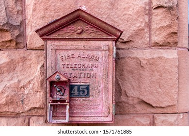 Antique Fire Alarm. Close up of antique fire alarm and telegraph box.