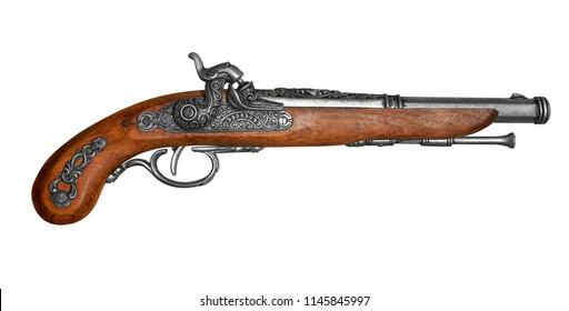 antique flintstone pistol isolated on white background