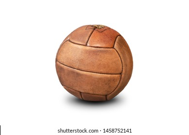 Antique football ball dates back to early in the 20th century. Old soccer ball isolated on white background