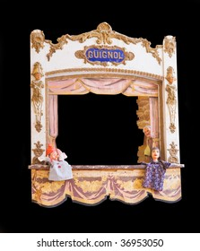 Antique French guignol isolated with clipping path