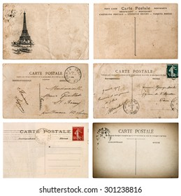 Antique french postcard  with stamp from Paris. Used paper background. Scrapbook elements
