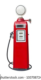 Antique gas pump on white with clipping path