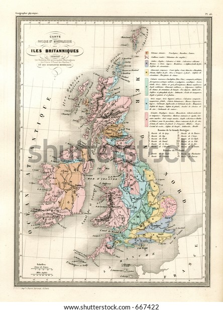 Antique Geological Map Britain 1860 Stock Photo (Edit Now ... on blank map of britain, political map of britain, physical map of britain,