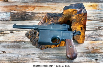 Antique German Broomhandle pistol made around 1926.