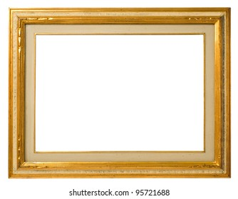 Antique gilt wood frame, italian style,  isolated on white background - include clipping path.