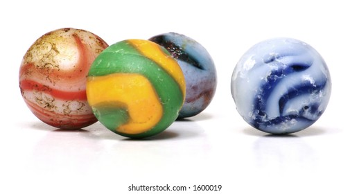 Antique Glass Toy Marbles on a White Background