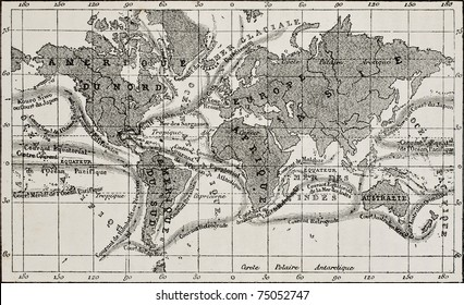 Antique global ocean currents French map. Created by Dumas-Vorzet, after sketch of Berghaus, Becquerel and Petermann, engraved by Erhard. Published on L'Eau, by G. Tissandier, Hachette, Paris, 1873