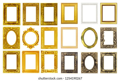 The antique gold frame isolated on the white background.