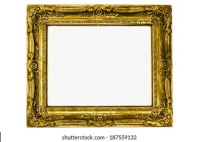 antique gold frame isolated on white background with clipping path