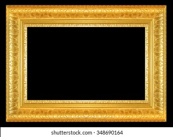 The antique gold frame isolated on black background
