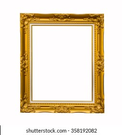 Antique gold frame on isolated  background.
