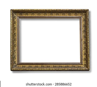 The antique gold frame on the white background with clipping path