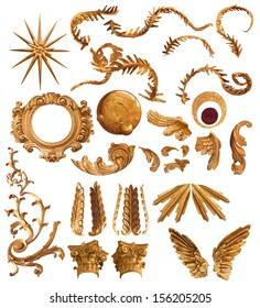 antique golden feather forms elements and ornaments collection, comes with clipping paths, isolated on white