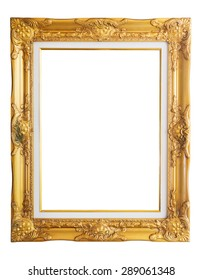Antique golden frame isolated on white background with clipping path