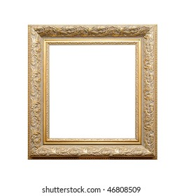 antique golden frame isolated on a white background