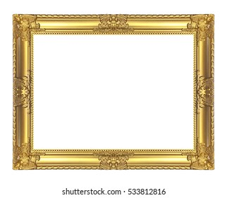 Antique golden frame isolated on white background, clipping path.