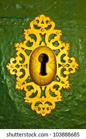 Antique golden keyhole