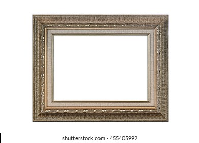 antique golden picture frame isolated on white background