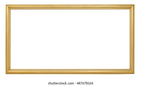 antique golden picture frame on white background