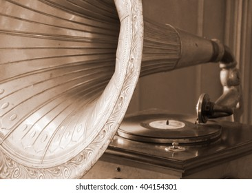Antique gramophone (in sepia, retro style)