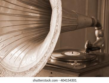 Antique gramophone (in sepia, retro style)