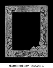 antique gray frame isolated on black background, clipping path, sunflower and butterfly tracery