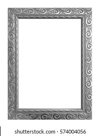 Antique gray frame isolated on white background, clipping path.