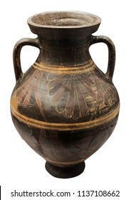 antique greek amphora of large sizes isolated on the white background