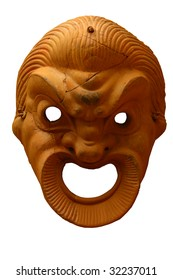 Antique greek  theatrical mask isolated on white