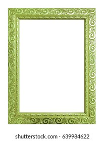 Antique green frame isolated on white background, clipping path.