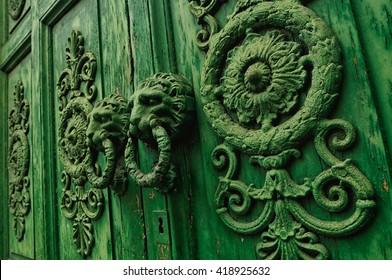Antique green wooden door, old town of Venafro, Molise Italy