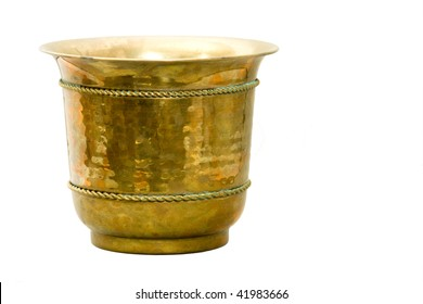 Antique Hammered Brass Container isolated on white background.