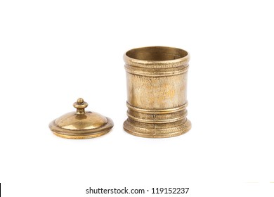 Antique Hammered Brass pot isolated on white background
