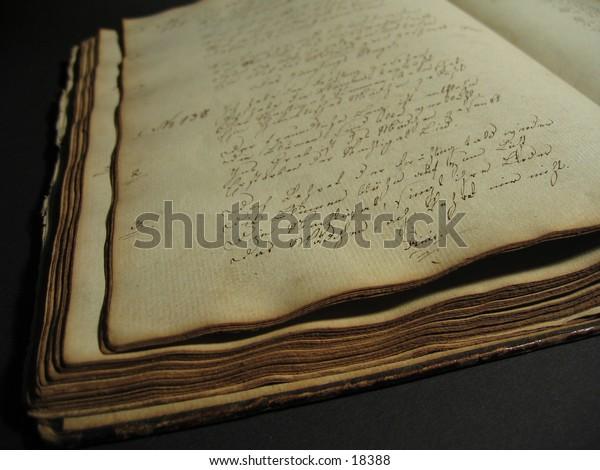 An antique handwritten book.