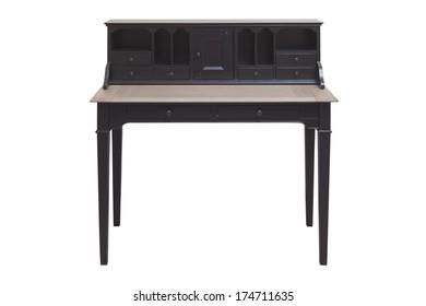 Antique hard wood writing desk / secretary, isolated on white background
