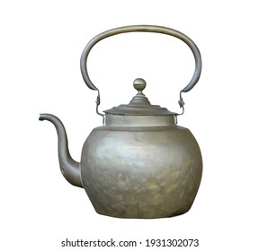 Antique hot kettle isolated white background.Clipping path