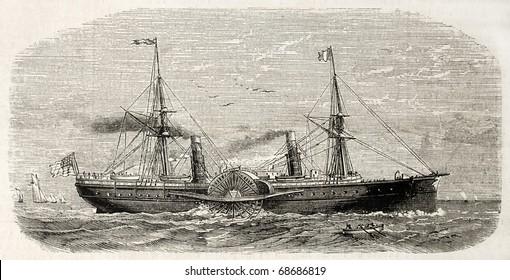 Antique illustration of american steamer sailing. Original, from drawing of Lebreton, after sketch of Barbin, was published on L'Illustration, Journal Universel, Paris, 1860