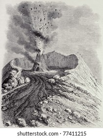 Antique illustration of the crater of Vesuvius erupting. Original, from drawing of Cochot, was published on L'Illustration, Journal Universel, Paris, 1868